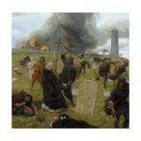 Norse Marauders Wreak Mayhem at Clonmacnoise, Ireland Giclée-tryk af Tom Lovell