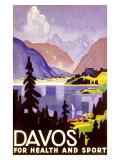 Davos Swiss Alps Ski Resort Giclee Print