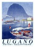 Lake Lugano Power Boat Giclee Print