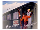 French Alps Railway, Ski Reproduction procédé giclée