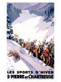Chartreuse Resort Snow Tobaggan Giclée-tryk af Roger Broders