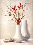 Weidenzweige mit roten Blumen Poster von Karin Valk