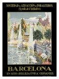 Barcelona Spain Fountain Giclée-Druck