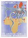 WWII French Algerian Propaganda Poster Stampa giclée
