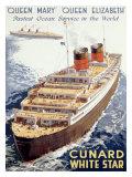 Cunard Line, Queen Elizabeth, Queen Mary Giclée-Druck von Walter Thomas