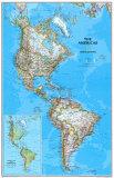 Politisk karta över Nord- och sydamerika, engelska Posters