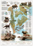 Dinosaurs of North America Map Print