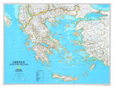Map of Greece Pôsteres