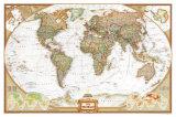 Politieke kaart van de wereld, executive stijl Posters