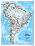 Politische Landkarte von Südamerika Kunstdrucke