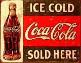 Coca cola fresca con ghiaccio Targa di latta