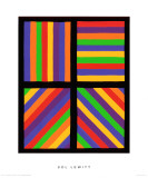 Color Bands in Four Directions, c.1999 Premium Giclée-tryk af Sol Lewitt