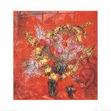 Fleurs Sur Fond Rouge, c.1970 Pósters por Marc Chagall