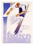 Winter Sports in Italy, Graphics Reproduction procédé giclée par  Lenhart