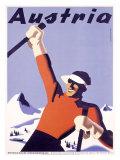 Austria Ski Vacation Reproduction procédé giclée par Joseph Binder