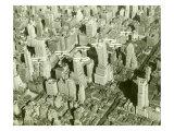 New York City, Skyline and Biplanes Giclée-Druck