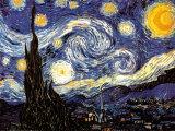 星月夜(糸杉と村) 1889年 ポスター : フィンセント・ファン・ゴッホ