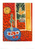 赤い室内、青いテーブルの上の静物 1947年 ポスター : アンリ・マティス