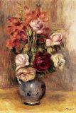 Vase of Gladiolas and Roses Poster van Pierre-Auguste Renoir