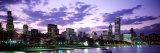 Sunset, Sky, Skyline, Twilight, Downtown, City Scene, Loop, Chicago, Illinois, USA Photographic Print