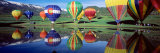 Reflection of Hot Air Balloons on Water, Colorado, USA Fotografisk tryk