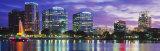 Panoramic View of an Urban Skyline at Night, Orlando, Florida, USA Photographic Print