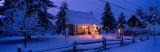 Log House with Christmas Lights, Laurentians, Canada Fotografie-Druck