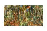 An Illustration of Abundant Wildlife in a South American Rain Forest Giclée-tryk af Barron Storey