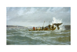 Basque Whalers Attempt to Tow a Wounded Whale Ashore to Newfoundland Giclée-tryk af Richard Schlecht