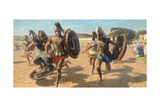 Greek Contestants Wearing Heavy Armor Race for Fame and Olive Wreath Giclée-tryk af Tom Lovell