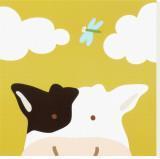 Peek-a-Boo III, Cow Stretched Canvas Print by Yuko Lau