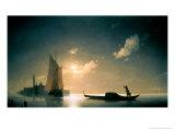 Gondolier at Sea by Night, 1843 Giclée-tryk af Ivan Konstantinovich Aivazovsky