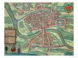 "Map of Bristol, from ""Civitates Orbis Terrarum"" by Georg Braun and Frans Hogenberg circa 1572-1617 Giclee Print by Joris Hoefnagel"