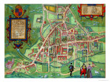 "Map of Cambridge, from ""Civitates Orbis Terrarum"" by Georg Braun and Frans Hogenberg, circa 1572 Giclee Print by Joris Hoefnagel"
