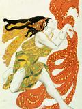 Bacchuksen papittaren pukusuunnittelua Tšerepninin Narcisse-teokseen, 1911 Giclée-vedos tekijänä Leon Bakst