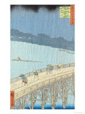 "Sudden Shower on Ohashi Bridge at Ataka, from the Series ""100 Views of Edo"", 1857 Giclee Print by Ando Hiroshige"