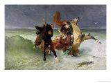 The Flight of Gradlon Mawr circa 1884 Giclee Print by Evariste Vital Luminais