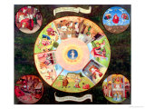 Tabletop of the Seven Deadly Sins and the Four Last Things Giclée-tryk af Hieronymus Bosch
