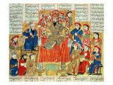 "A Sultan and His Court, Illustration from the ""Shahnama"", by Abu""L-Qasim Manur Firdawsi circa 1330 Giclée-tryk"