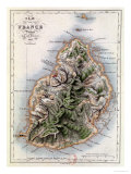"Map of Mauritius, Illustration from ""Paul et Virginie"" by Henri Bernardin de Saint-Pierre, 1836 Giclée-tryk af A.h. Dufour"