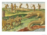 """Hunting Crocodiles, from """"Brevis Narratio"""" 1563 Giclee Print by Jacques Le Moyne"""