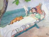 Woman Lying on a Bench, 1913 Giclée-Druck von Carl Larsson