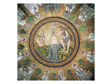 Baptism of Christ, Surrounded by the Twelve Apostles Giclée-tryk