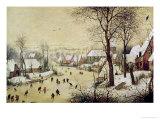 Winter Landscape with Skaters and a Bird Trap, 1565 Giclee-trykk av Pieter Bruegel the Elder