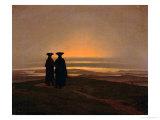 Sunset circa 1830-35 ジクレープリント : カスパル・ダーヴィト・フリードリヒ