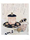 A Pot of Tea and Keys, 1822 Impressão giclée por Katsushika Hokusai