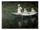 The Boat at Giverny, circa 1887 Giclée-tryk af Claude Monet