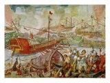 The Battle of Actium, 2nd September 31 BC, 1600 Giclée-Druck von Antonio Vassilacchi