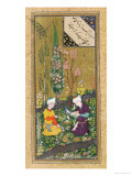 Two Figures Reading and Relaxing in an Orchard, circa 1540-50 Giclée-tryk