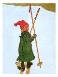 Little Girl Skiing Giclée-tryk af Carl Larsson